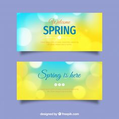 Spring banners in blurred style Free Vector