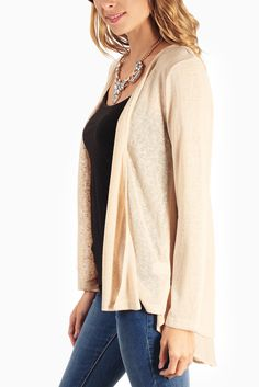 Beige-Chiffon-Accent-Open-Back-Cardigan #outfitinspiration #fallclothes #cardigan