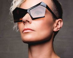 Geometric Futuristic Architectural Black Sunglasses by 13&9