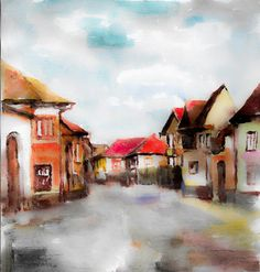 Street Painting - A Street In The Sibiu by Cuiava Laurentiu Street Painting, Cities, Art Prints, City, Art Print
