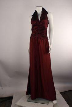 TADASHI Burgundy Ruched Taffeta Collared V-Neck Satin A-Line Evening Dress  #TADASHI #AsymmetricalHem #Formal