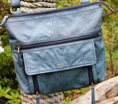 FOSSIL Teal Blue Leather Cross Body Explorer Messenger Handbag #Fossil…