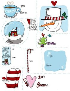 Free printable xmas gift tags!!  These are my sisters art!!!  More free printables at freshpickedwhimsey.typepad.com  xo, kim