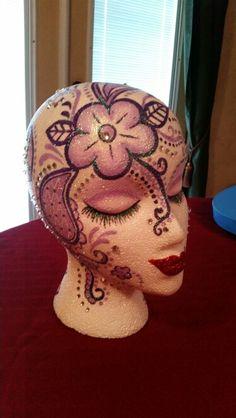 Styrofoam heads Vintage Mannequin, Mannequin Heads, Styrofoam Head, Flower Show, Doll Head, Bead Art, Diy Painting, Altered Art, Art Dolls