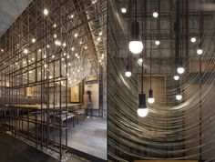 As one proceeds towards the halo surrounding the grid structure, the interior layers start revealing themselves. Firstly, the original wall is stripped down to its structural blocks to resonate with the rustic metal grid.