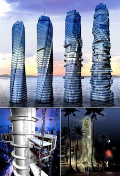 Da Vinci Rotating Tower, Dubai - architect david fisher is the designer. One of the most innovative and   unique buildings to be built in Dubai. The 250 meter tower will allow each floor to rotate freely allowing the building to shift its shape. In-between each floor, horizontal wind turbines will allow the building to produce energy.