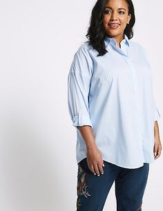 Buy the CURVE Cotton Rich Striped Long Sleeve Shirt from Marks and Spencer's range. Striped Long Sleeve Shirt, Long Sleeve Shirts, Workwear, Casual, How To Make, Cotton, Stuff To Buy, Collection, Tops