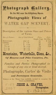 Jesse A. Graves, Photographer, Delaware Water Gap Guide Book, 1875