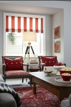 Sarah Richardson Design | Sarah's House 4 - love the reds and greys in the basement rec room!