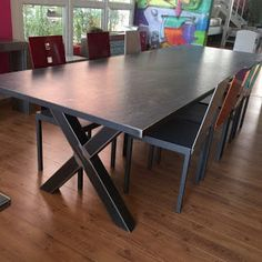 table ceramique Wood Steel, Dining Table, Tables, Furniture, National Geographic, Salons, Home Decor, Table And Chairs, Large Dining Room Table