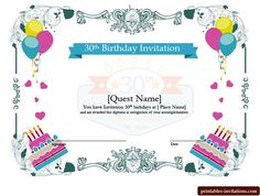 Printable Surprise 30th Birthday Invitations for Him and Her