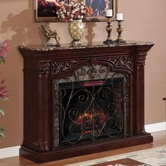Astoria Infrared Electric Fireplace Mantel in Empire Cherry - 33WM0194-C232