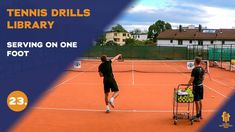 Top tennis drills: Serving on one foot Tennis Videos, Drills, Improve Yourself, Basketball Court, Top, Free, Tennis, Drill, Crop Shirt