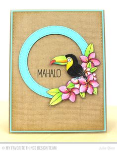 Handmade card from Julie Dinn featuring Birdie Brown Polynesian Paradise stamp set, Pierced Circle Frames Die-namics #mftstamps