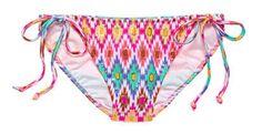 Victoria's Secret The Teeny Bikini Bottom Sz M White Ground Ikat Foil Swim Tie #VictoriasSecret #BikiniBottom