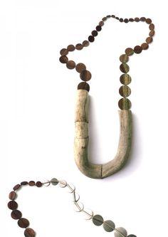 Jenny Klemming - Curtail I necklace 2010, drift wood, steel, mahogny veneer, silk - ø 970 mm