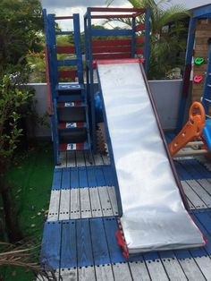 cheap homemade slide - Google Search Homemade Slide, Metal Slide, Back Deck, Google Search