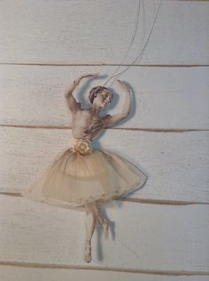 Ballerina Paper Doll with Tulle Skirt embellishment for card making, scrap booking , journals, package topper, decor by lamoneeboutique on Etsy