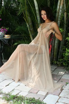 Bridal Lingerie Nude Nightgown Sheer