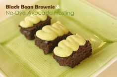 Black Bean Brownies - Gluten Free! Top with  Dye-free Green Frosting Made with Avocado.  Treats with added nutrition for your little ones.