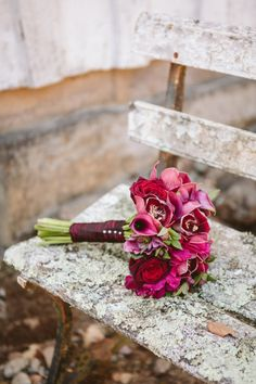 Gorgeous hot pink and red bouquet: http://www.stylemepretty.com/2014/10/21/fleurs-de-france/   Flowers from: Fleurs de France - http://www.fleursfrance.com/