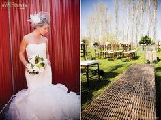 Red barn, stunning bouquet, wicker bench, outdoor reception.... Little Flower Shop