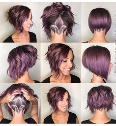 10 Trendy Stacked Hairstyles for Short Hair: Practicability Short Hair Cuts // # for - Short Bob Hair Styles Short Choppy Haircuts, Short Hair With Undercut, Bob Haircut With Undercut, Shaved Undercut, A Line Haircut Short, Pixie Haircuts, Choppy Hairstyles, Short Stacked Hairstyles, Female Undercut