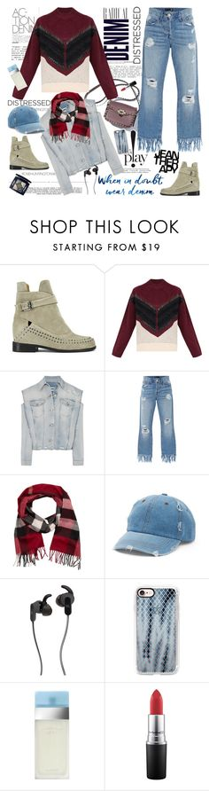 """""""Distressed Denim"""" by ellie366 ❤ liked on Polyvore featuring Therapy, Raven Denim, Whiteley, Alima, Thakoon Addition, Dagmar, MM6 Maison Margiela, 3x1, Burberry and Mudd"""