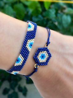 Miyuki bead evil eye bracelet set, miyuki charm bracelet, miyuki beaded bracelet, evil eye beaded b Bead Jewellery, Charm Jewelry, Beaded Jewelry, Handmade Jewelry, Geek Jewelry, Gothic Jewelry, Etsy Jewelry, Handmade Bracelets, Jewelry Crafts