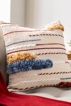 Add a pop of color to bed or sofa. The Zena Embroidered Square Pillow features fringe and color embroidered accents, instantly adding texture to any space. Modern Pillows, Pillow Quotes, My New Room, Custom Pillows, Primary Colors, Your Design, Color Pop, Sofa, Etsy Shop