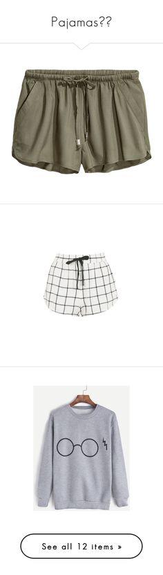 """Pajamas❤️"" by krebollar13 ❤ liked on Polyvore featuring shorts, patterned shorts, green hot pants, short shorts, micro shorts, h&m shorts, monochrome, topshop shorts, checked shorts and pocket shorts"