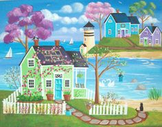 Etsy の Springmeadow Cove Folk Art Print by KimsCottageArt