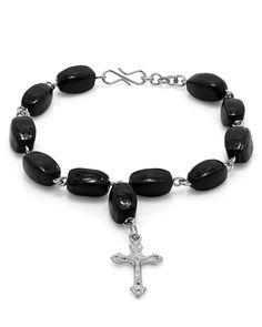 Black Beaded Crucifix Charm Bracelet