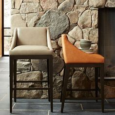 Curved Leather Bar + Counter Stool - Elephant and honey #westelm. might be fun to mix and match colors