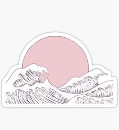 sun sunset and waves Stickers Stickers Cool, Red Bubble Stickers, Anime Stickers, Tumblr Stickers, Kawaii Stickers, Printable Stickers, Laptop Stickers, Vsco, Homemade Stickers