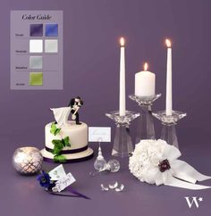 This color combination is rich, glamorous and elegant. A vibrant palette made more striking with sparkling accents for a luxurious and timeless appeal. Purple, green and silver are a classic wedding color combo. Find out how you can get this look and many others!