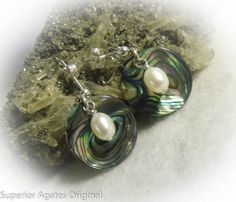 Silver Abalone Shell White Pearl Dangle  by superioragates on Etsy, $8.00