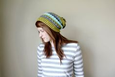 Textured Striped Pom Pom Slouchy Hat  Grey Green and by FallCode, $38.00