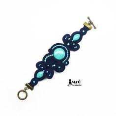 Iminyë - unique soutache bracelet !bracelet soutache, bracciale soutache, turquoise and navy