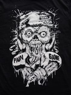 Angry Zombie T-shirt - Black, faded, gothic, mma, boxing, skull