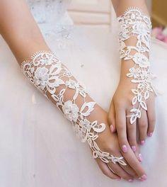 White Bride Lace Rhinestones Fingerless Gloves Wrist Length Wedding Party Prom   #Fingerless