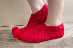 Knit wool Knitted slippers / Knit Socks wool socks by SmthWarm, $15.60