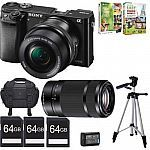 Sony Alpha a6000 24.3MP Mirrorless Camera w/ 16-50mm and 55-210mm Lenses Bundle $696 #LavaHot http://www.lavahotdeals.com/us/cheap/sony-alpha-a6000-24-3mp-mirrorless-camera-16/53313