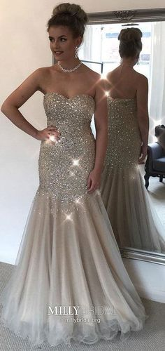Silver Prom Dresses Long, Mermaid Formal Evening Dresses Sparkly, Elegant Military Ball Dresses Open Back, Sweetheart Graduation Dresses Tulle #MillyBridal #silverdress #MermaidPromDresses #graduationdresses