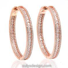 ZDE1871-RG STERLING SILVER 925 ROSE GOLD PLATED WHITE CZ HOOP EARRINGS 38 MM