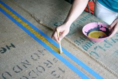 HOW-TO.....burlap headboard with coffee bags.