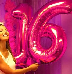 Birthday sweet 16 pink balloons for a decoration idea!