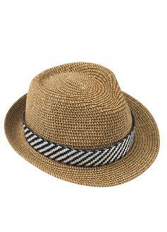 NUEVA COLECCIÓN MAORI   PALAU Sombrero borsalino de ala estrecha fabricado en fibra natural de color tostado y decorado con una cinta de rafia en blanco y negro.