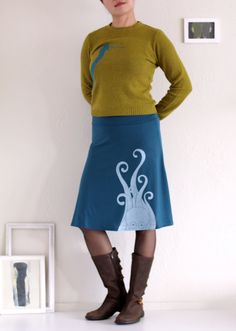Women Teal Blue Rayon Jersey Knee Length A-line Fold Over Stretchy Skirt, Womens cute skirts, Midi Skirt, Handmade Skirt - Giant Octopus