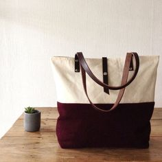 Canvas and Wool Tote Bag Burgundy off White Tote Leather Handles, Large Tote Large Purse Handbag Shoulder Bag, Diaper bag, Everyday Carryall